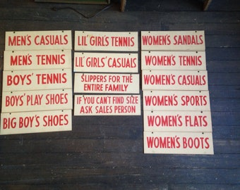 Vintage Shoe Department Store Assorted Cardboard Ceiling Signs
