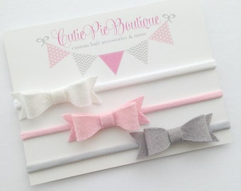 Felt bows. white, pink & grey felt bows on nylon headband.One size fits all.Newborn headband,toddler headband,Girls headband.
