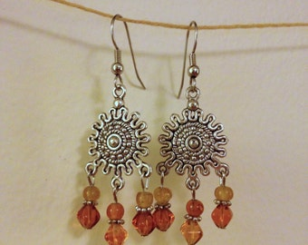 amber and gold sun chandelier earrings