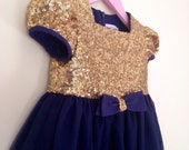Girl's Gold Sequin and Navy Tulle Flower Girl Dress, Girl's Party Dress, 1st Birthday Dress, Glitzy, Sparkly Gold Dress