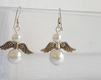 Angel Wing Pearl Earrings