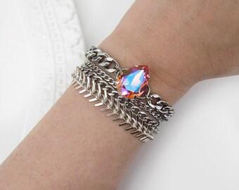 Lightly Frosted Peach Swarovski Bracelet/ Pear Shaped / Peach / Stainless Steel / Curb Chain / Teardrop Crystal / AB / Aurora Borealis