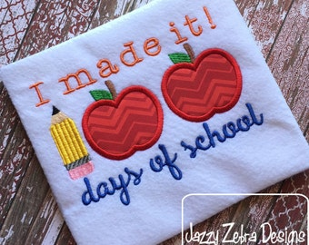 I made it 100 days of school Saying Embroidery Design - school appliqué design - 100 days of school appliqué design - apple appliqué design