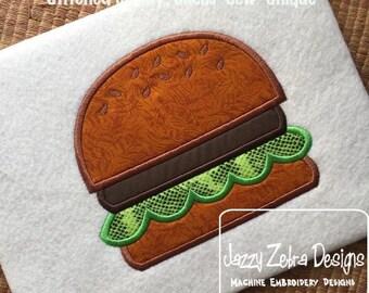 Hamburger Applique embroidery Design - hamburger applique design - picnic appliqué design - barbecue appliqué design - summer applique