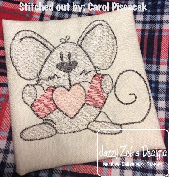 Mouse Valentine Sketch Embroidery Design - Valentines day sketch embroidery design