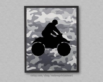 Four Wheeler, Camouflage Decor, Four Wheeler Print, Teen Boy Room Decor, Wall Art, Teen Boy Gift, Teen Boyfriend Gift Idea, Christmas Gift