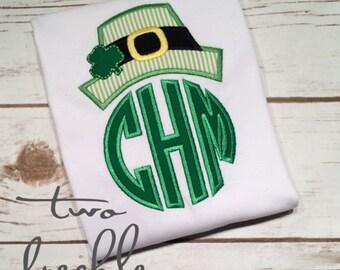 St. Patrick's Day Monogrammed Shirt, Leprechaun Hat Shirt