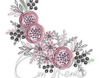 MACHINE EMBROIDERY DESIGN - Flower, floral ornament, floral decoration, floral decor