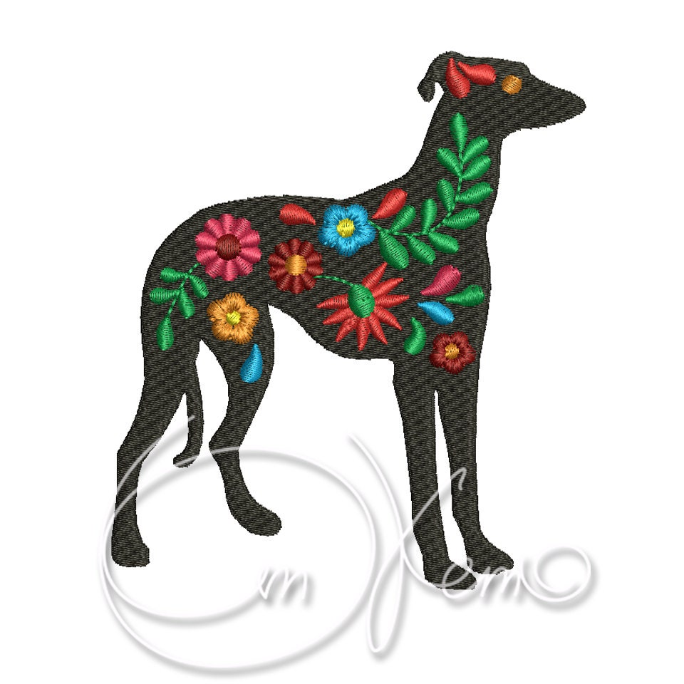 Machine embroidery design mexican whippet calavera dia de
