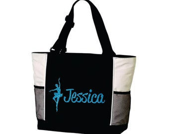 DANCE TOTE with Dancer's Name. Dance Bag. Gymnastics Tote. Gymnastics Bag. Dancer Tote. Dancing Tote. Ballet Tote. Ballet Bag. Custom Tote.