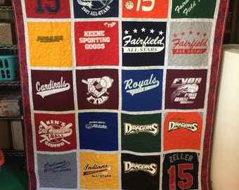 Memory Quilts Custom Made - Memory Quilt Made From 9 - 49 t-shirts