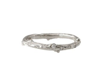 Platinum Scattered Diamond Twig Ring
