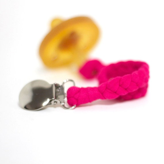 Girl Pacifier Clip / BRIGHT PINK Braided Pacifier Clip / soothie / binky clip / pacifier holder