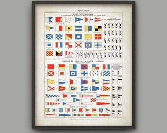 International Maritime Signal Flag Print - Vintage Ship Communication - Sailing Signals Poster - Navy Banners - Navy Telegraph Signals