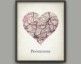 Pennsylvania State Map Print - Love Heart Pennsylvania State - Pennsylvania Travel Poster - Pennsylvania United States - Pennsylvania Gift