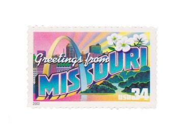 5 Unused US Postage Stamps - 2002 34c Greetings from Missouri - Item No. 3585
