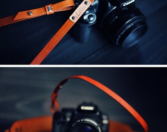 Custom Leather Camera Strap, Skinny, Thin Camera Strap, personalized gift, Brown, Simple, minimalist, mirrorless, Custom text name initials