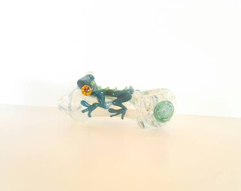 Blue Silver Fumed Color Changing Green Lizard with Flower Stamp Hand Blown Glass Tobacco Pipe