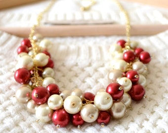The Holly Pearl Statement Necklace, Holiday Necklace, Chunky Red Necklace, Chunky Pearl Necklace, Pearl Bib Necklace, Pearl Cluster Necklace