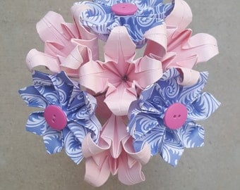 Pink and Blue Origami Flower Arrangement