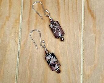 paintbrush jasper earrings-pink jasper earrings-dangle earrings-sterling jasper earrings-silver pink jasper earrings-pink-red stone earrings