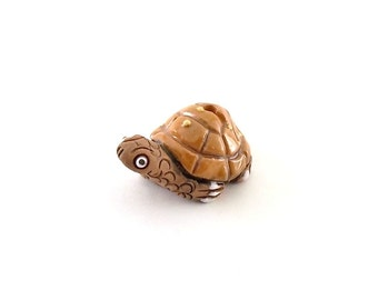 1 Ceramic Turtle Bead - Brown Tan Bead - Turtle Bead - Large Bead