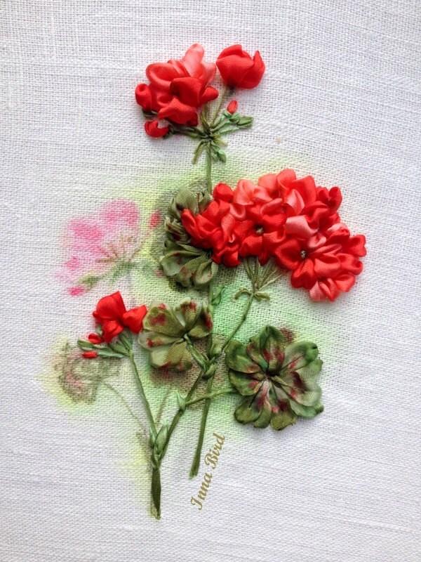 Red geranium silk ribbon embroidery work