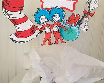 5 Piece Dr Seuss Cat in The Hat Centerpiece, Cat in The Hat Centerpiece, Cat in The Hat Birthday Decor, Thing 1 Thing 2 Birthday Party Decor