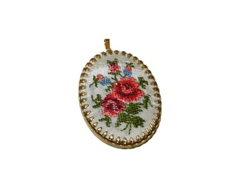 Flower Embroidered Pendant, Embroidery Charm, Floral Needlework, Embroidered Jewelry