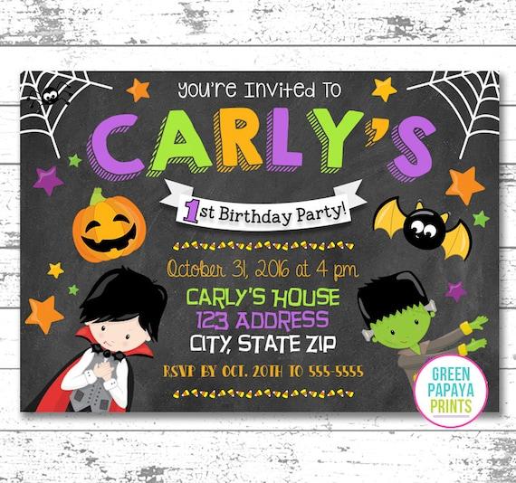 Halloween Birthday Invitation, Kid's Birthday, First