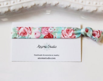 Roses Pink Mint Green Hair Tie