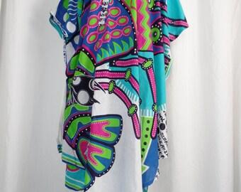 70s vintage KANSAI YAMAMOTO Day Glo bright seaside theme cotton caftan/ giant shrimp, ocotopus and fish: one size