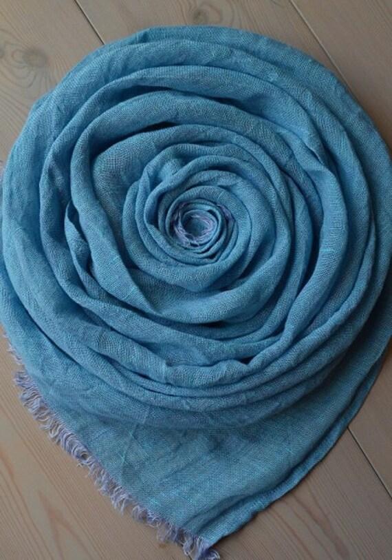 Sky Blue LINEN Scarf, Blue Scarf, Summer Scarf, Men scarf, Women Scarf