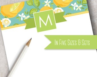 Bright Citrus Monogrammed Note Pad   Personalized Stationery Note Pad   Kitchen Note Pad, Yellow, Lime Green