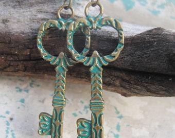 Verdigris Brass Skeleton Key Dangle Earrings