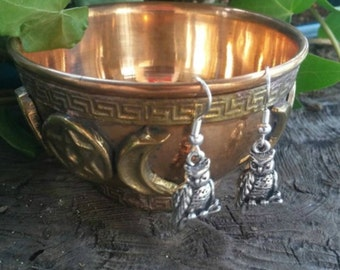 Owl Dangle Earrings, Owl Earrings, Owl Gifts, Owl, Owls, Earrings Silver, Earrings Handmade