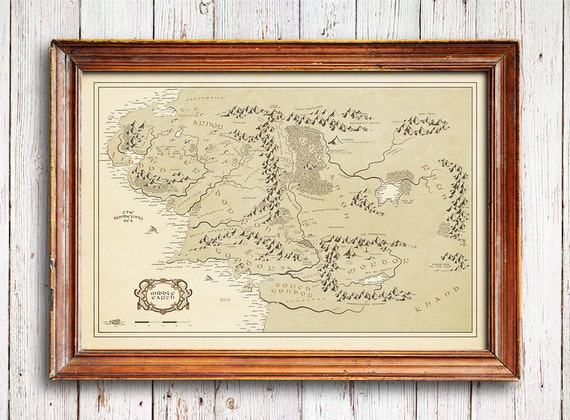 Middle Earth Map Vintage Style Map Lord Of The Rings Poster