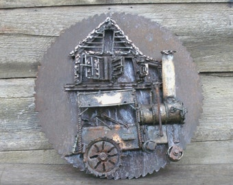 Steam-Powered Tractor & Mill on Saw Mill Blade, A Metal Sculpture