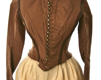 Ladies Victorian Jacket, Brown Taffeta, 22 Matching Exquisite Buttons with Mother of Pearl Inlay, Extra Small Size, Historical Society