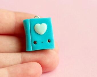 Heart Book Charm Polymer Clay Kawaii (blue)
