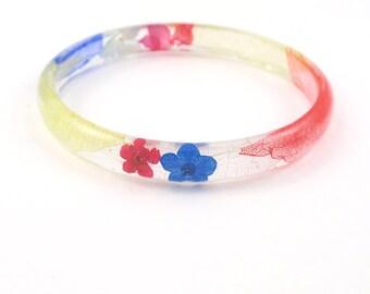Eco Resin Bangle Bracelet - Size L - Real Flower Resin Bracelet, Pressed flowers, Floral Bracelet, Botanical Bracelet, Nature bracelet,
