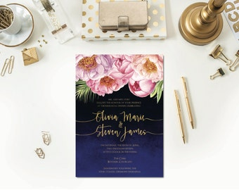 Midnight Peony Rehearsal Dinner Invitation