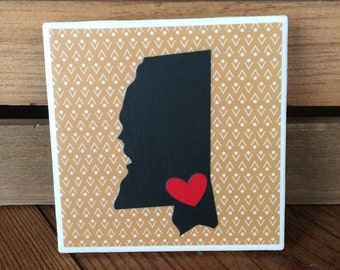 Mississippi Coasters, Black and Gold Mississippi Coasters, Hattiesburg Mississippi Coasters, Set of 4 Coasters