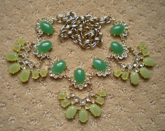 J Crew Necklace, Statement Necklace, Runway Necklace, Bib Necklace, Green Necklace, Rhinestone Necklace, Chunky Necklace