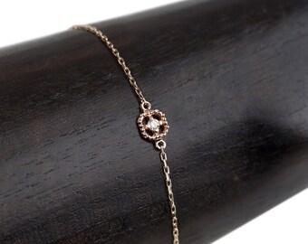 14k gold diamond open cuff bracelet dahlia diamond 2mm dainty