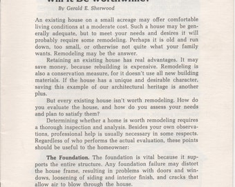 Remodeling a House - Will It Be Worthwhile? by Gerald E. Sherwood, Pamphlet, 1979, illustrated, 17 pages
