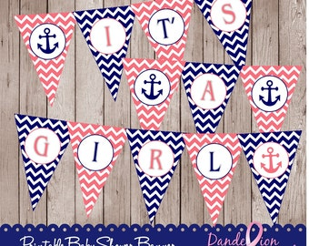 Coral Blue Nautical Anchor It's A Girl Baby Digital Printable Banner DIY