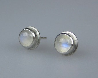 Rainbow Moonstone Sterling Silver Stud Earrings | 6mm Gemstone Studs | Basic Gemstone Earring Studs | Modern Minimalist | Made to Order