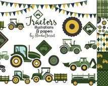 Tractor Clipart, Tractor Digital Papers , Green Tractor Elements for Card Making, Tractors Clip Art Scrapbooking Supplies C355