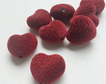 Rare Vintage Red Velvet Heart Fabric Quilted Bead - PA1068